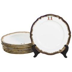 Nine Gilt Cobalt Border Dinner Plates with Crest