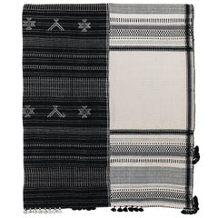 Injri Organic Cotton Black and White Bedcover or Throw