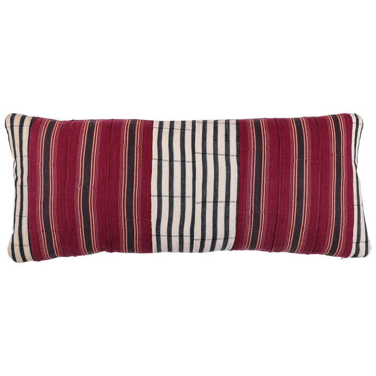 African Ashante Striped Pillow, Double-Sided For Sale