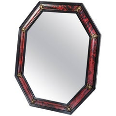 19th Century Red Tortoise Shell Octagonal Mirror