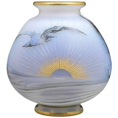 """French Art Nouveau """"Seagull"""" Cameo Glass Vase by Daum Nancy"""