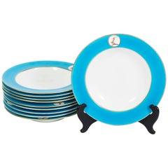 Set of Ten Minton China Turquoise Rim Bowls