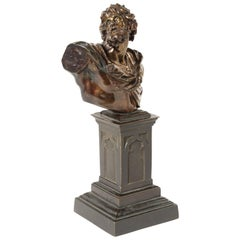 Late 18th-Early 19th Century Patinated Bronze Bust of Attila, after Algardi