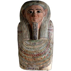 Egyptian Polychrome Paint Upper Sarcophagus Lid