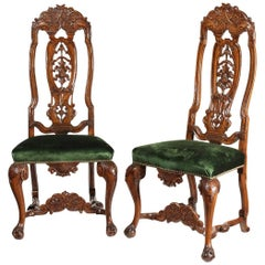Pair of Mid-19th Century Dutch Carved Walnut Side Chairs
