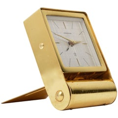 Jaeger Le Coultre Travel Alarm, Table Clock Gold-Plated Metal, Switzerland