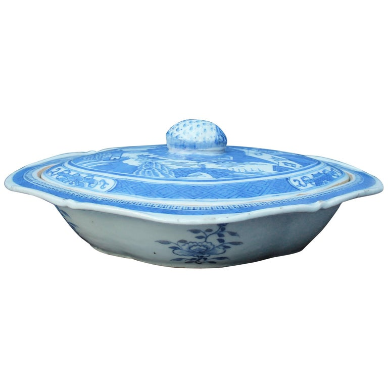 Blue and White Chinese Canton Covered Dish