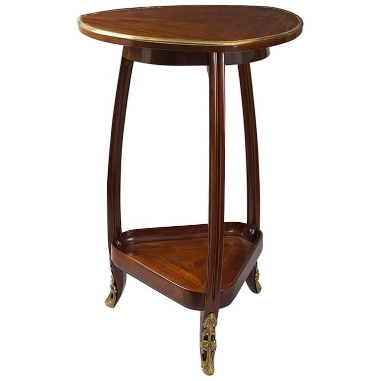 French Art Nouveau Triangular Table by Louis Majorelle For Sale