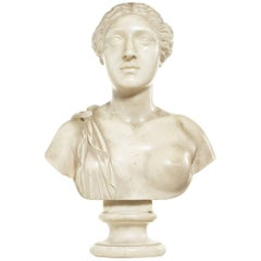Late 18th Century White Marble Bust of Sappho