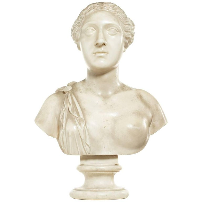 Late 18th Century White Marble Bust of Sappho For Sale