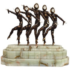 Large Art Deco Sculpture of Five Chiparus Style Dancers with a Marble Base