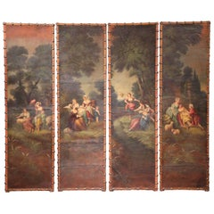 18th Century, French Louis XV Hand Painted Leather Four-Panel Hanging Screen