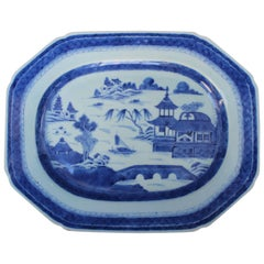 Chinese Blue and White Canton Platter