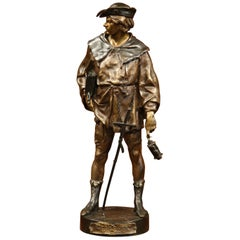 "19th Century French Patinated Bronze Sculpture ""L'escholier"" Signed E. Picault"