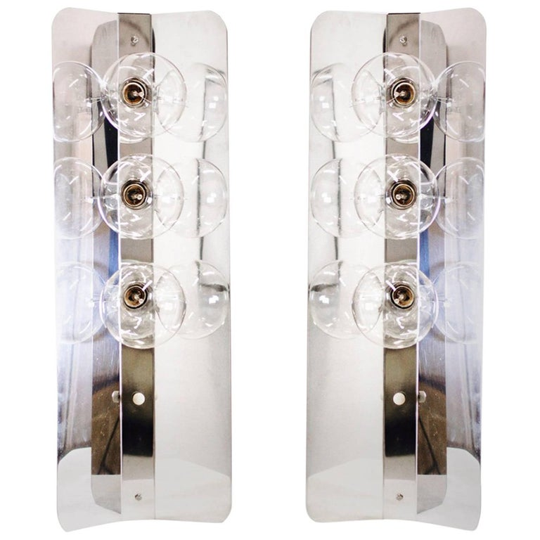 Pair of Three-Light Polished Chrome Mod Table Lamps with Side Reflectors