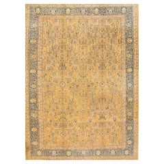 Antique Yellow/Floral Tabriz Persian Carpet