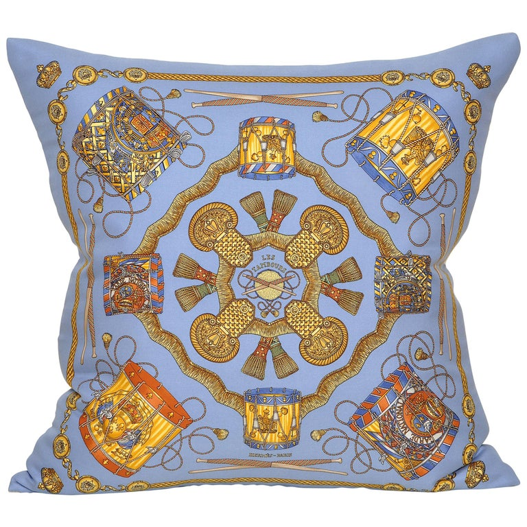 Vintage Hermes Blue Purple Silk Scarf and Irish Linen Cushion Pillow