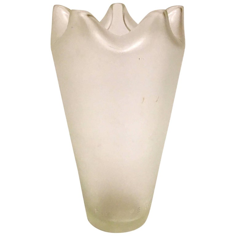Frosted Glass Vase By French Designer Philippe Donay For Ligne Roset