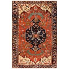 Antique 19th Century Rust/Blue Geometric Serapi Carpet