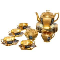 Ovington's Gold Lustre and Floral Decorated Tea Set