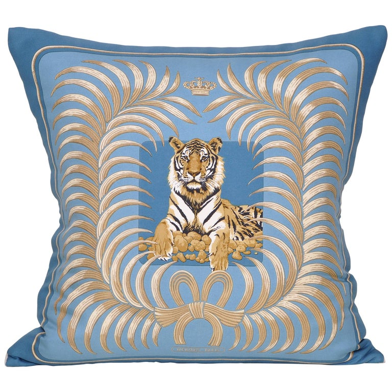 Vintage Hermes Blue Gold Tiger Silk Scarf and Irish Linen Cushion Pillow For Sale