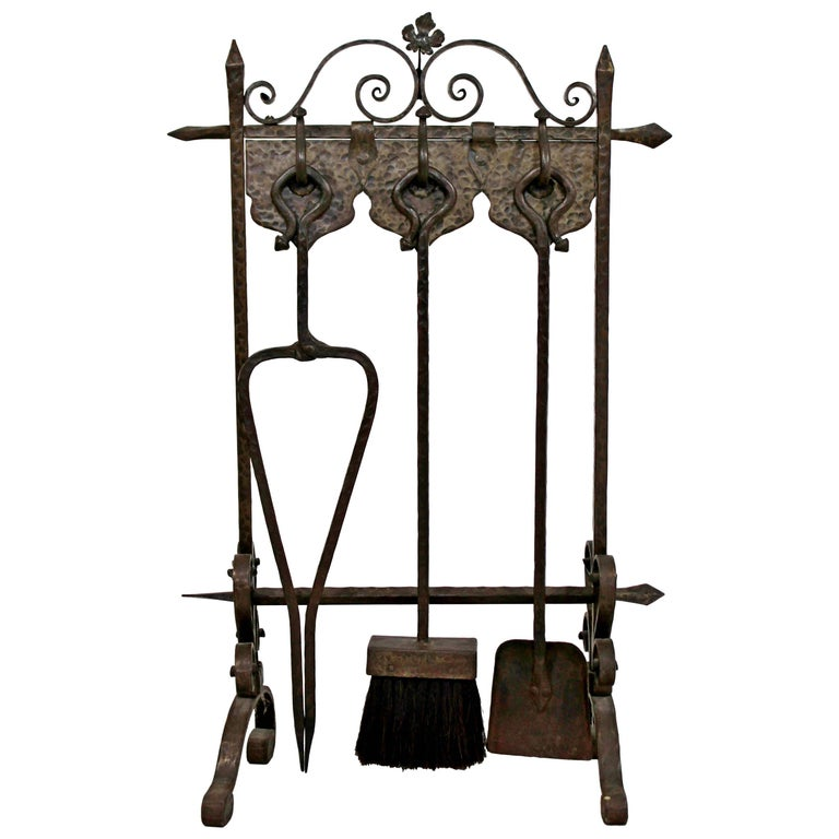 French Art Deco Hand Forged Wrought Iron Fireplace Tool Set For Sale