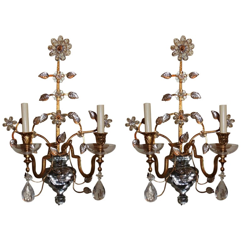 Pair of French Bagues Jansen Rock Crystal Gold Gilt Glass Two-Arm Sconces