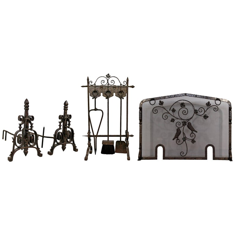 French Art Deco Hand-Forged Wrought Iron Andiron Fireplace Tool Set and Screen