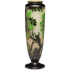 French Art Nouveau Carved Cameo Glass Vase by Émile Gallé