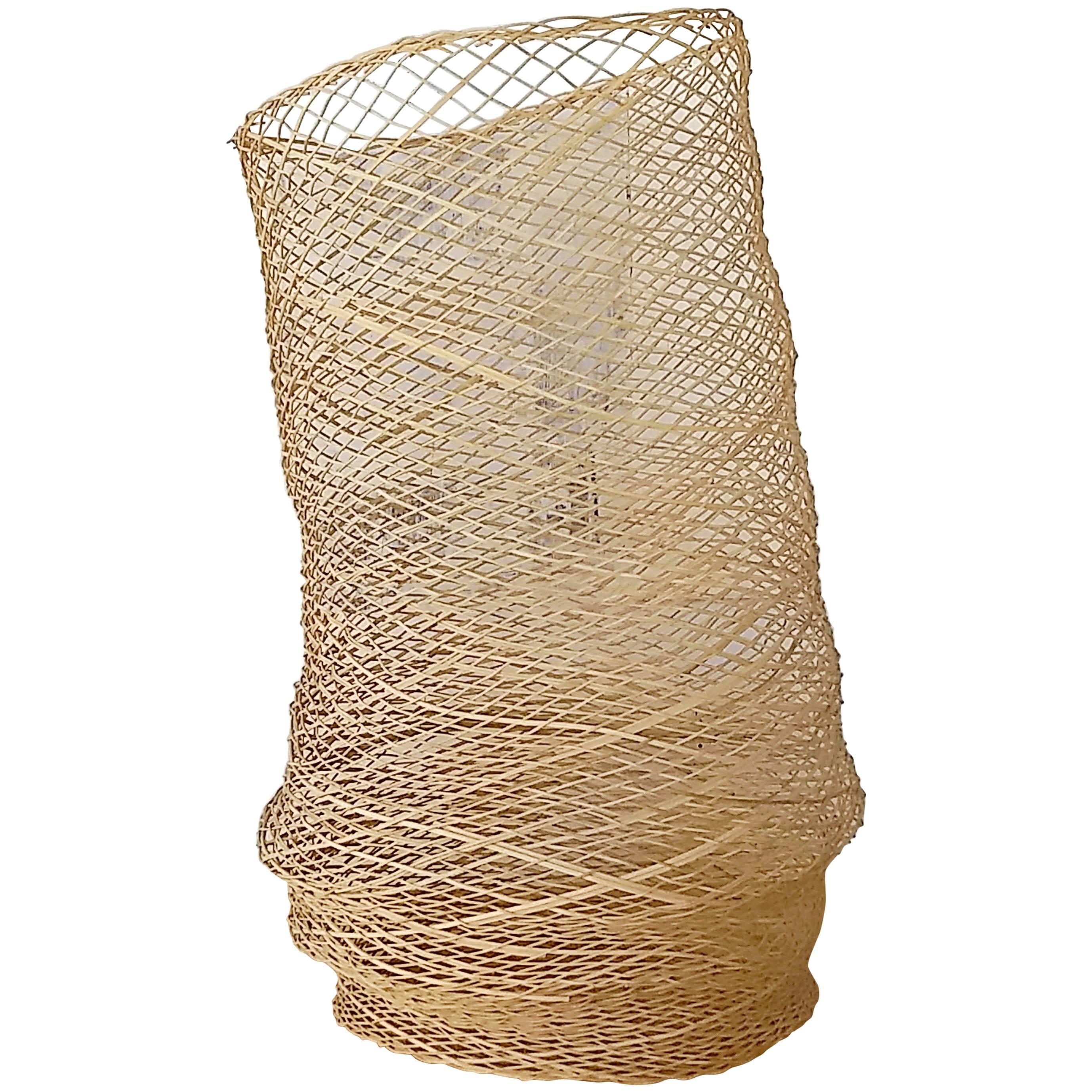 Linda Kelly Contemporary Woven Basket Standing Floor Art Sculpture
