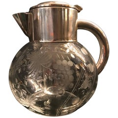 Beautiful Cut Glass Cocktail Jug with Silver Plate