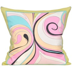 Vintage Pucci Pink Yellow Geometric Scarf and Irish Linen Cushion Pillow