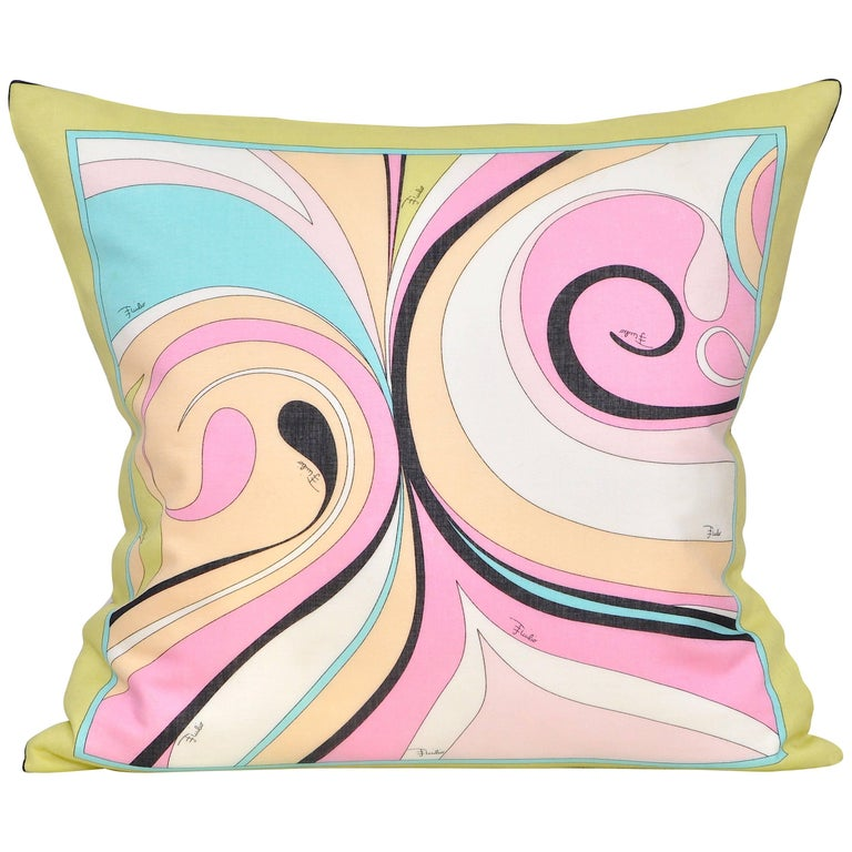 Vintage Pucci Pink Yellow Geometric Scarf and Irish Linen Cushion Pillow For Sale