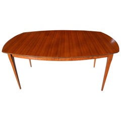 Modern Three-Leaf Block Mottle Walnut Dining Table by Bertha Schaefer, 1950s