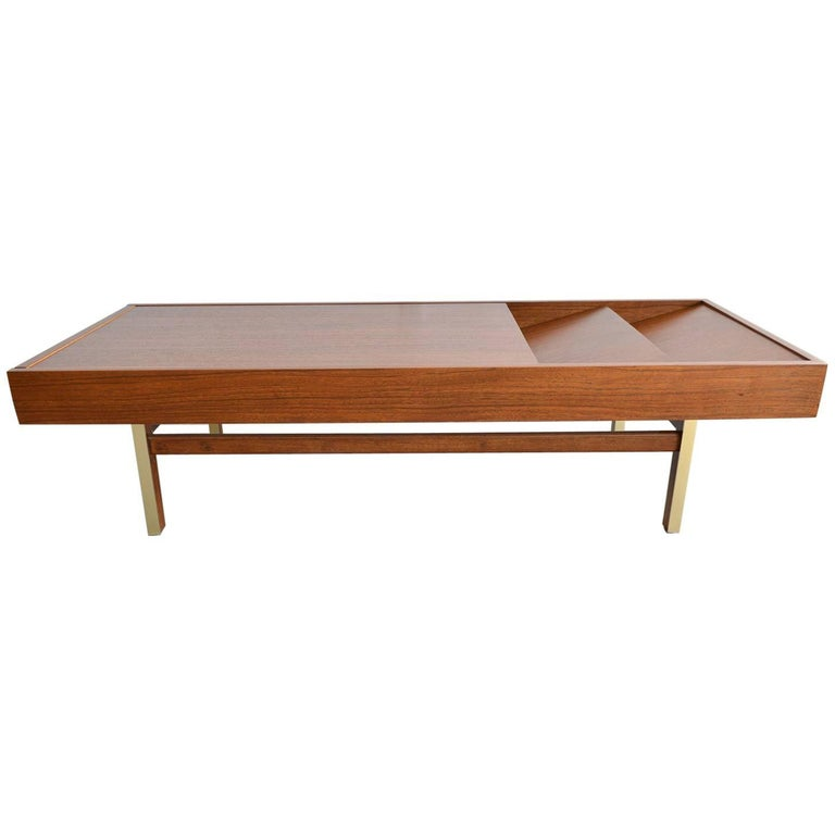 Mahogany and Brass Coffee Table by Merton Gershun, circa 1970