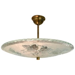 Swedish Etched Glass Bowl Pendant Light