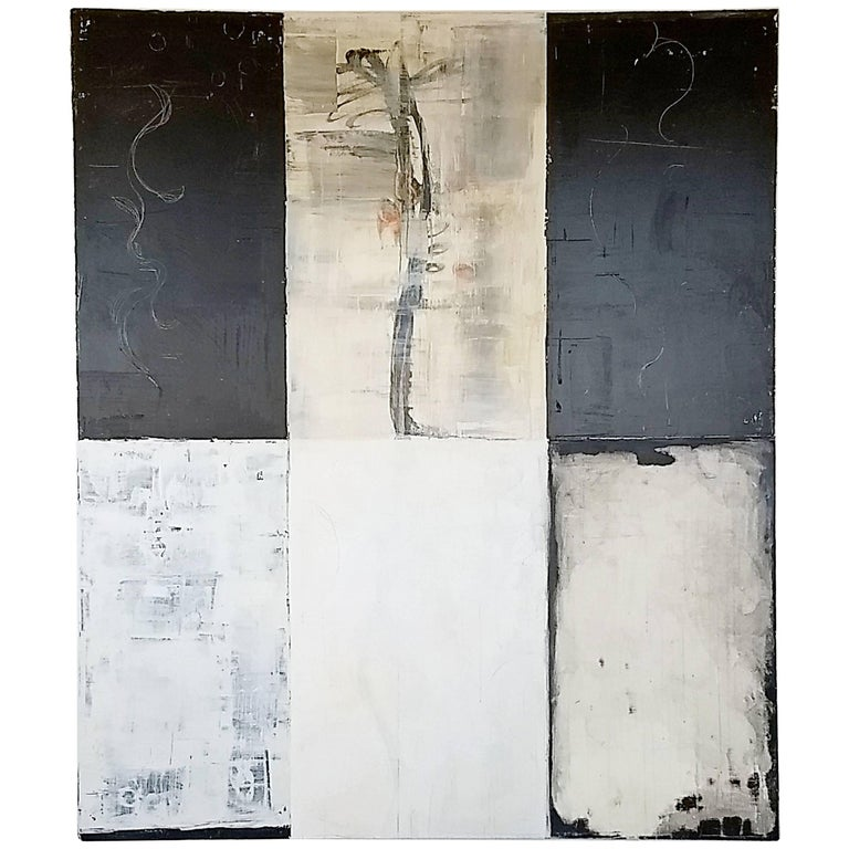 Contemporary Large Mixed-Media on Canvas Painting Signed Bernd Haussmann, 1999