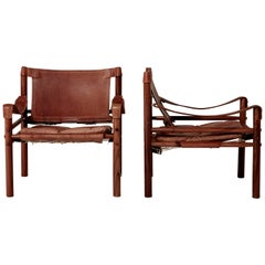 Pair of Arne Norell Safari 'Sirocco' Chairs, Aneby Mobler, Sweden, 1960s
