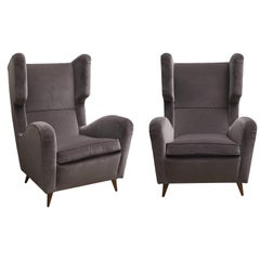 Pair of Melchiorre Bega Grey Velvet Armchairs