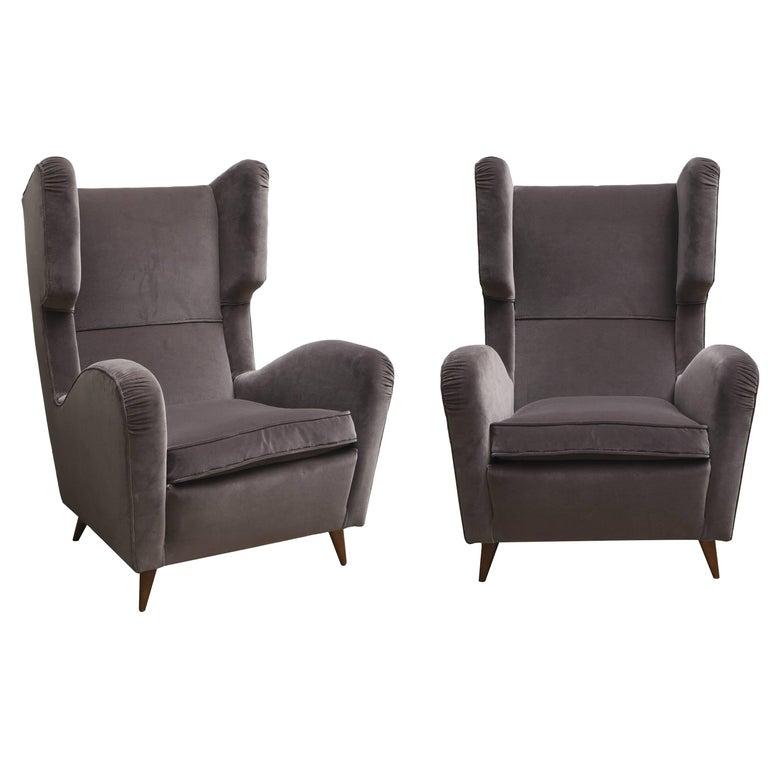Pair of Melchiorre Bega Grey Velvet Armchairs 1