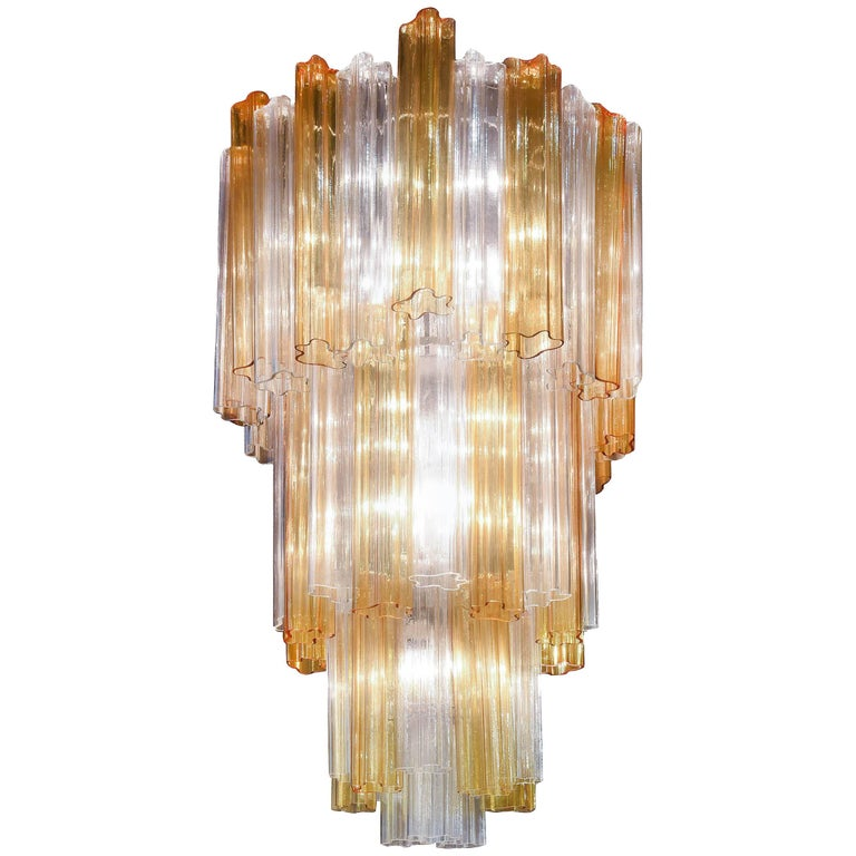 1950s Venini Chandelier with Elements in Transparent and Yellow Murano Glass