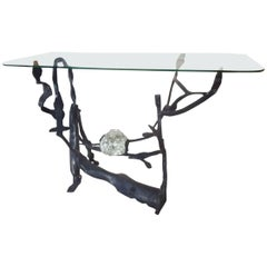 Wrought Iron and Glass Sculpture Console, Salvino Marsura, 1977, Italy