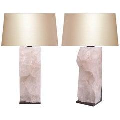 Pair of Very Rare Natural Rock Crystal Quartz Lamps