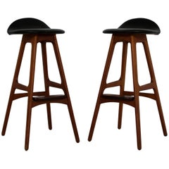 Mid-Century Modern Pair of Erik Buck Buch Leather Rosewood Bar Stools Danish