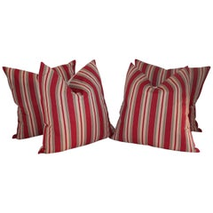 European Striped 19th Century Ticking Pillows, Pair