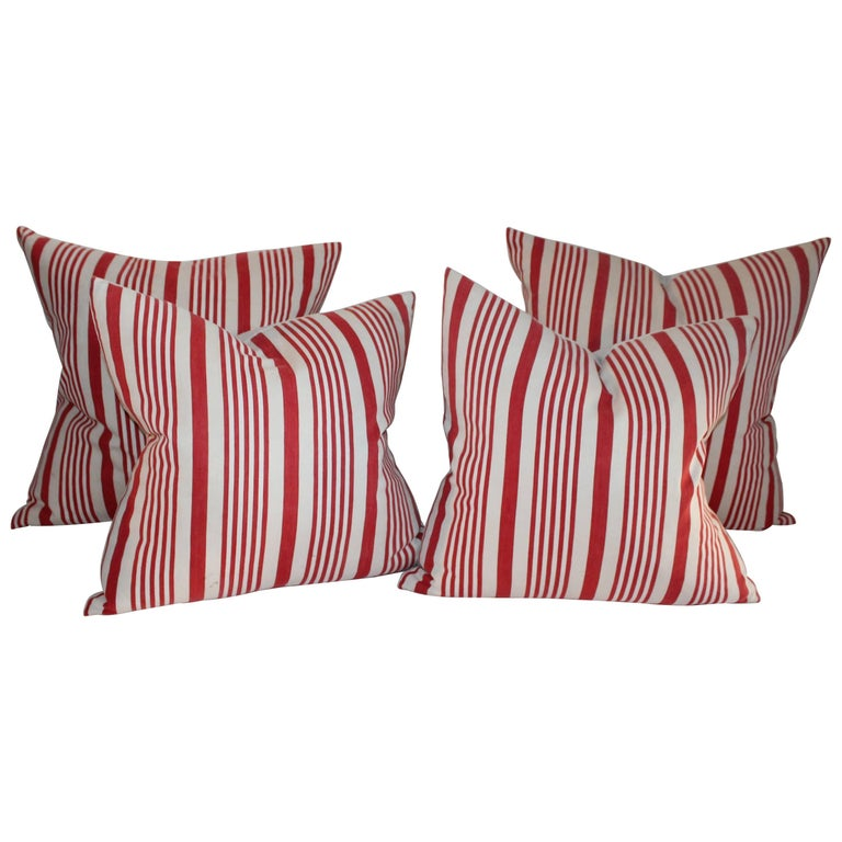 19th Century American Ticking Stripped Pillows/Pair