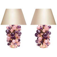 Pair of Cherry Blossom Rock Crystal Bubble Lamps