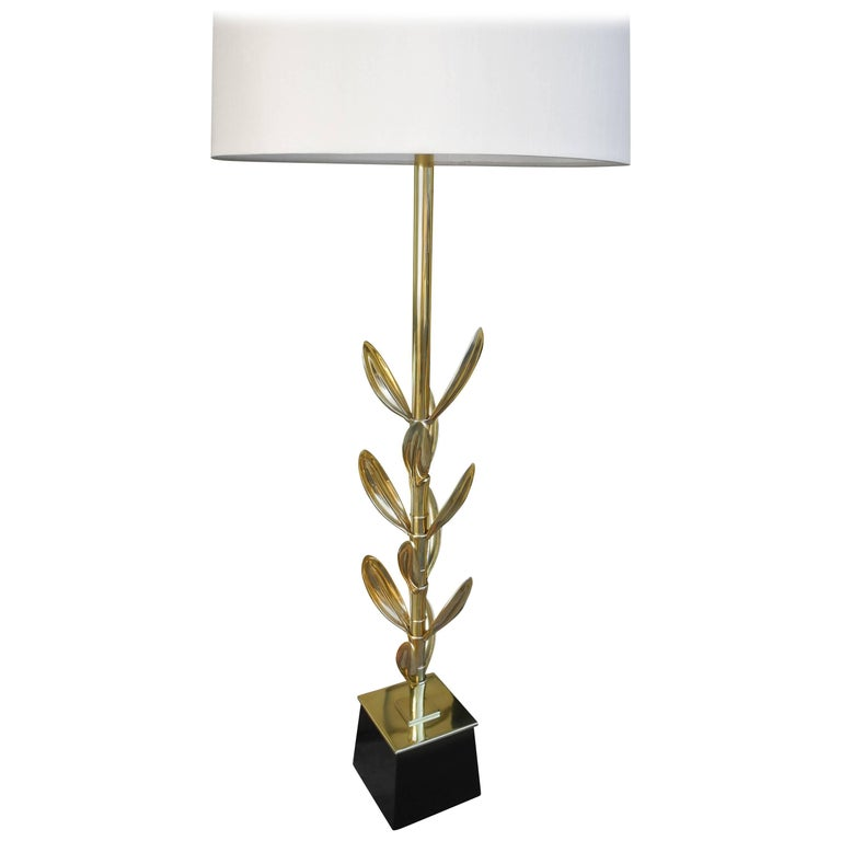 Mid-Century Modern Brass Sedum Leaf Table Lamp by Stiffel