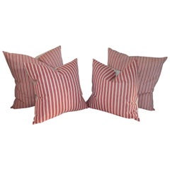 19th Century Candy Stripe Ticking Pillows, Pair