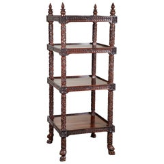 19th Century Four-Tiered Rosewood Carved Etagere